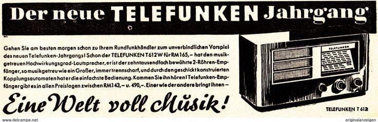 Werbung - Original-Werbung/ Anzeige 1936 - TELEFUNKEN RADIO - ca. 140 x 45 mm
