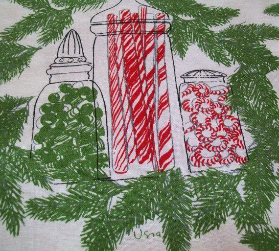 Vintage Christmas Tablecloth for Sale | SALE-Vintage Vera Christmas tablecloth, 3 vintage appliqued napkins ...