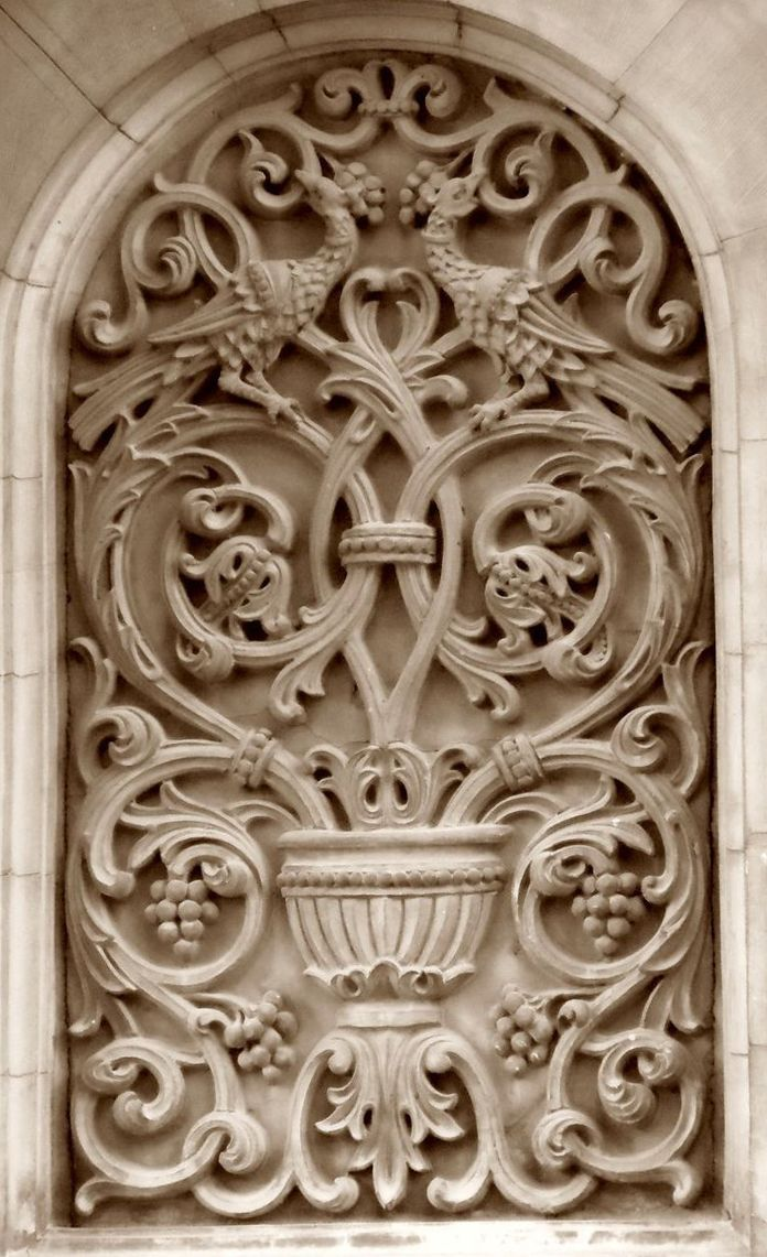 ⌖ Architectural Adornments ⌖ ornate building details - facing birds and leaves relief