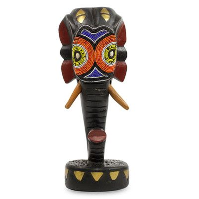 Novica Beads on Wood African Sculpture