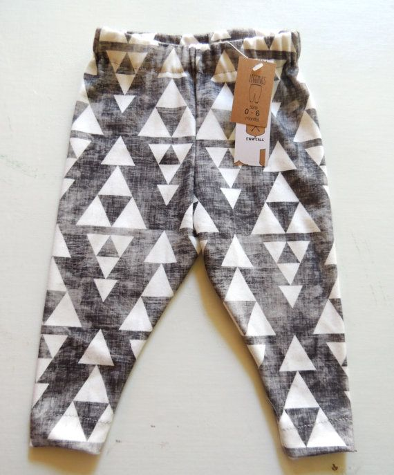 Aztec Leggings Heathered Black Triangle Print Modern Baby Clothes Size 0-6, 3-9 Months on Etsy, $30.00
