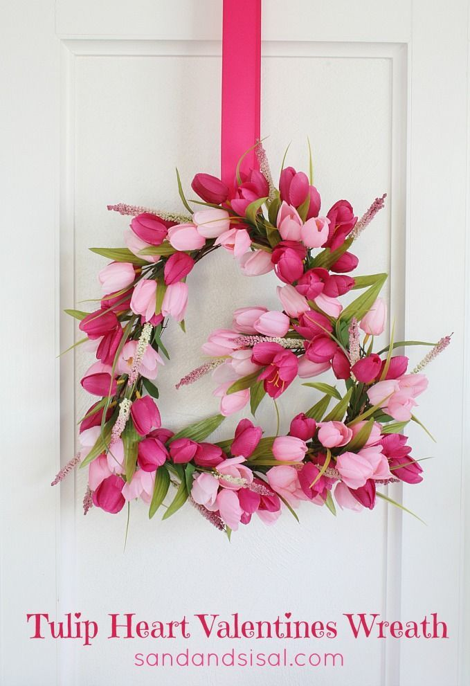 DIY Tulip Heart Valentines Wreath. This is such a pretty and easy wreath to make!