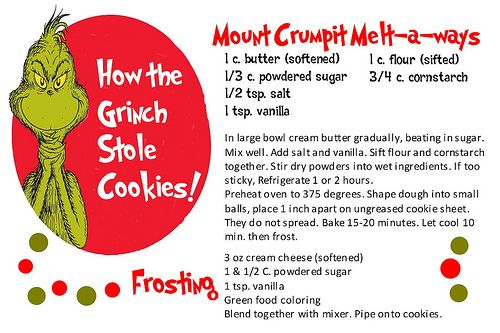 Mount Crumpit Melt-a-ways CookiesCookies Ideas, Christmas Cookies, Christmas Book, Seuss Ideas, Recipe Cards, Grinch Christmas Printables, Cookies Recipe, Grinch Cookies, Parties Printables