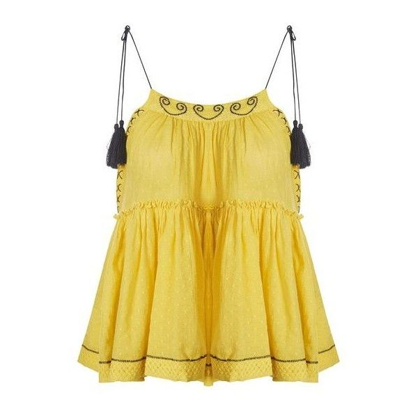 Topshop Yellow Hanki Hem Camisole Top ($37) ❤ liked on Polyvore featuring tops, embroidered boho top, bohemian style tops, cotton camisole, cotton cami and yellow cami top