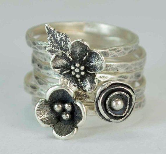 Pavot à fleur Sterling anneaux oubliez-moi pas anémone ferronnerie fabriqués à la main ensemble de 6