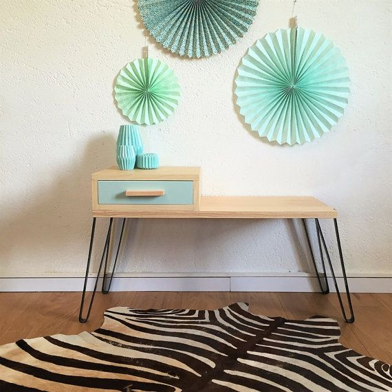 Mid century modern storage bench, Scandinavian and vintage, drawer bench, wood & metal, calcareous green colors, Jules model