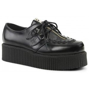 Zipper Vamp Black Leather Mens Creeper 440 Loafer - New at GothicPlus.com - your source for gothic clothing jewelry shoes boots and home decor. #gothic #fashion #steampunk