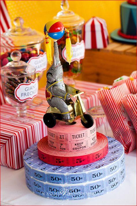 Decoração para mesa | Tema de festa de aniversário Circo Vintage | Mesa de doces