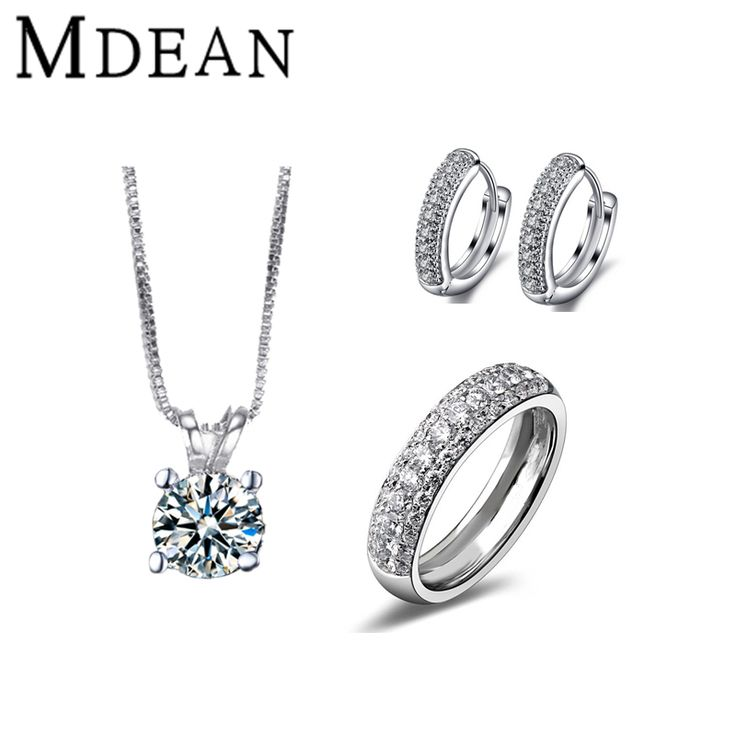 MDEAN White Gold Round CZ diamond Jewelry Sets AAA Zircon Anilos Engagement Vintage rings + earrings + necklace for women