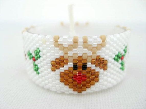 Christmas Tea Light Cover Cozy Candle Sleeve Beadwork Removable Rednosed Reindeer (Made To Order)