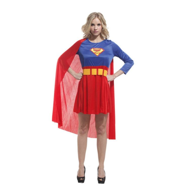 >> Click to Buy << Supergirl Costume Blue and Red Dress with Cloak Superhero Costume Series Adult Women's Halloween Carnival Costume Plus Size #Affiliate