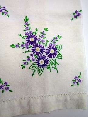 White Tea Towel Embroidered Purple Flowers by BonniesVintageAttic