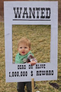 Photo booth for a western themed party -- or this could be a cute halloween costume!