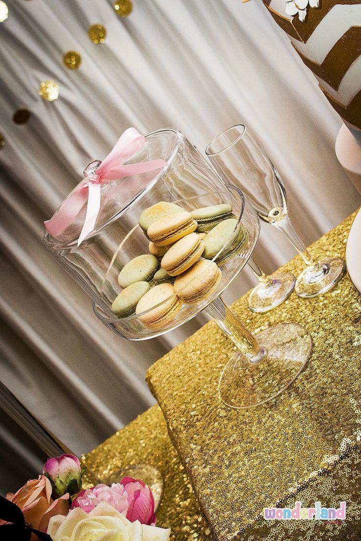 Glittered Macarons -www.wonderlandparties.com.au