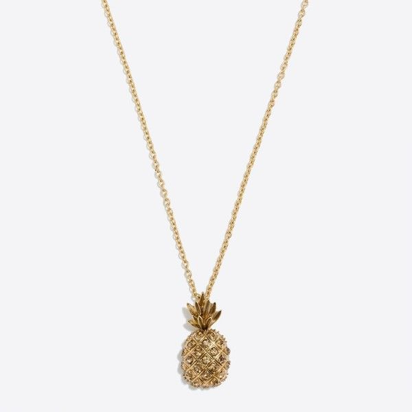 J.Crew Pineapple pendant necklace ($20) ❤ liked on Polyvore featuring jewelry, necklaces, j crew jewellery, pendant necklace, steel necklace, pineapple necklace and j.crew necklace
