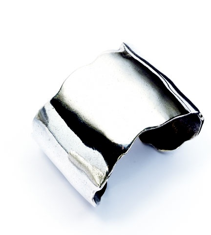 Our organically handcrafted burnished silver cuff (B1102)
