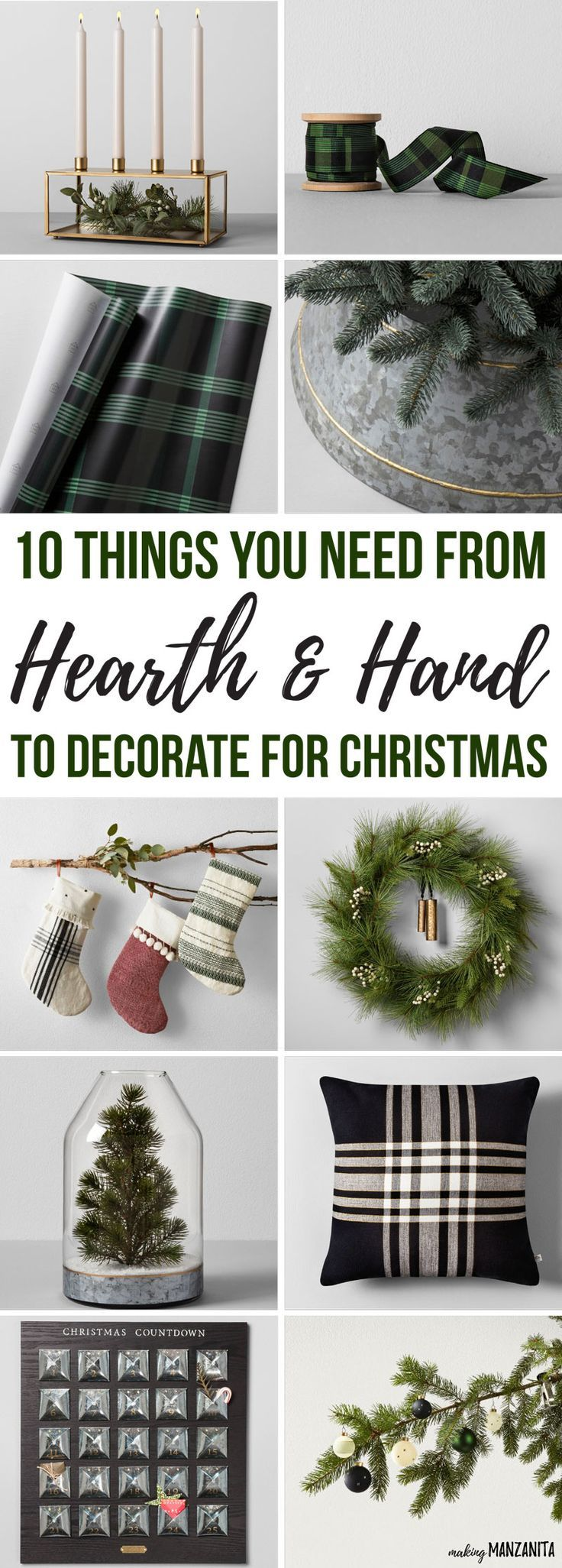 10 Things You Need From Hearth and Hand to Decorate for Christmas | Hearth & Hand with Magnolia at Target | Chip and Joanna Gaines new home decor line sold at Target | Decorating for Christmas on a budget in your living room | Modern farmhouse Christmas tree | Black and white holiday decor ideas for the kitchen | Green plaid ribbon and wrapping paper | Minimalist Gold candle holder | Galvanized tree skirt | Farmhouse style stockings | Wreath with bell | Mini tree in vase | Pillow