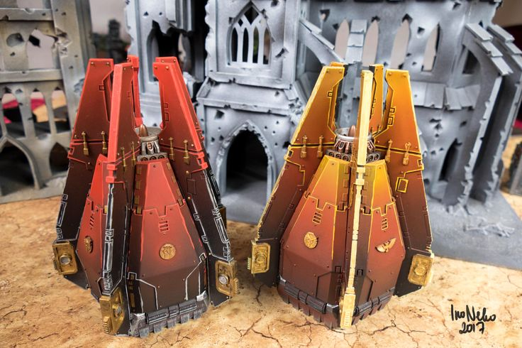 Hot Red and Yellow-Red Space marines drop pods, Warhammer 40K