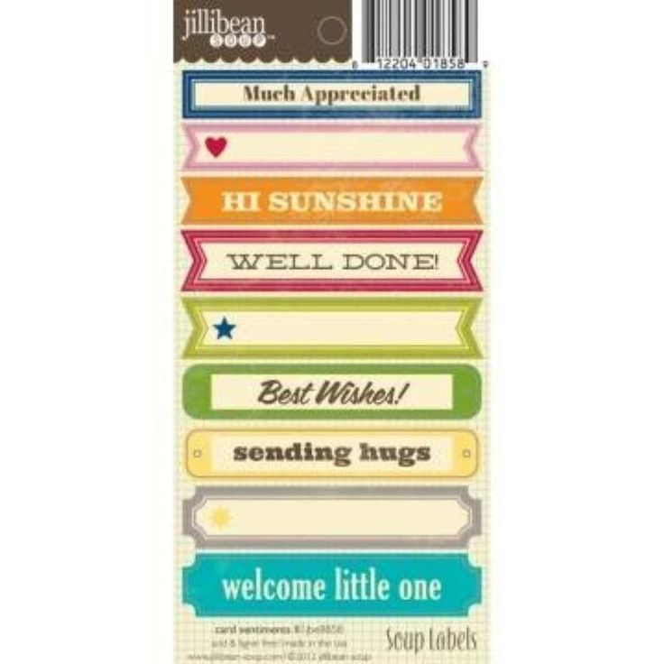 "Jillibean Soup Soup Label Stickers 3""X6.25"" Card Sentiments II"