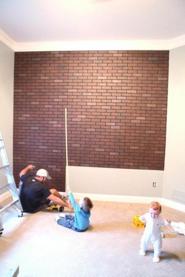 wanddeko selber machen gef lschte backsteinwand als rustikale dekoration wanddekoration. Black Bedroom Furniture Sets. Home Design Ideas