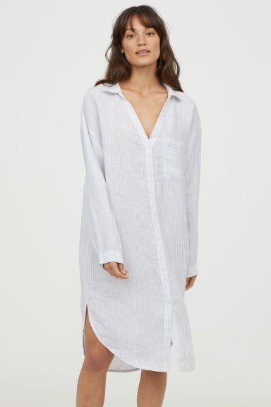 Dormir Es MujerH De Vestidor Blancorayas Camisa En Satén amp;m TK1JcFl