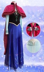 Disney Frozen Ice Queen Anna Dress Pattern Cloak Suit Cosplay Costume Adult NEW