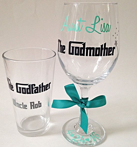 Your godparents will be surprised when you give them each what they want- a beer pint glass for the godfather and a wine glass for the