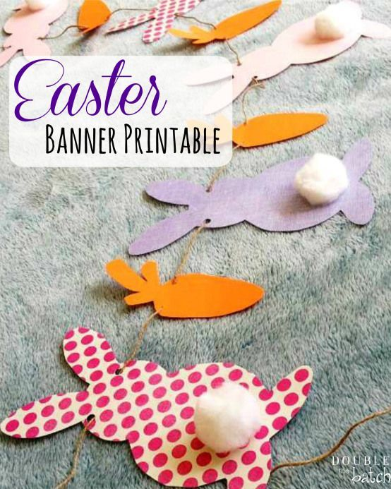 Craftaholics Anonymous® | A bunny of a banner. Simple tutorial, and makes great art for your mantle.