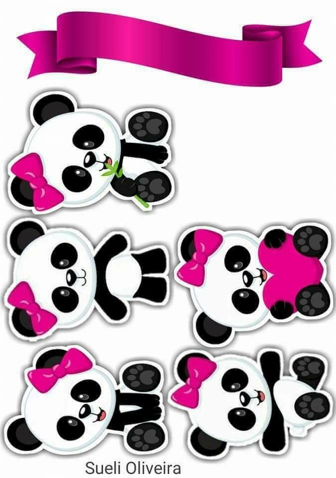 Osita Panda Con Lazos Rosados Toppers Para Tartas Tortas Pasteles Bizcochos O Cakes Para Imp Decoraciones De Panda Fiesta De Panda Fiesta Tematica De Panda