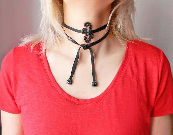 Black leather Bolo choker necklace Wrap choker with lace Bolo