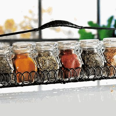 wrought iron spice rack for creating modern kitchen storage ideas