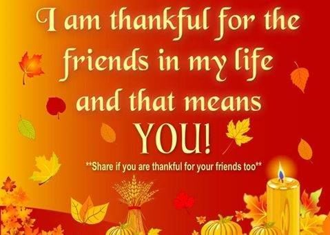 I Am Thankful For The Friends In My Life And That Means You!