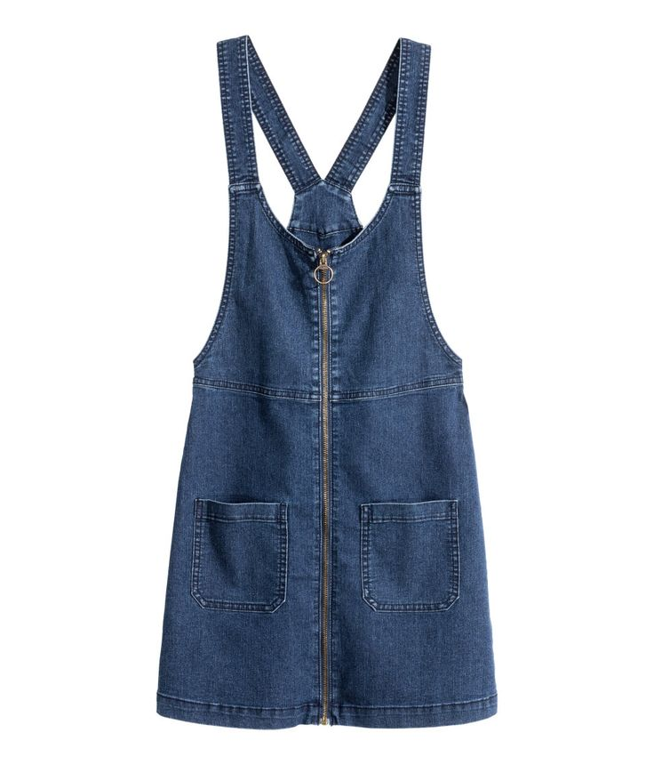 Short bib overall dress in washed stretch denim.| H&M Divided