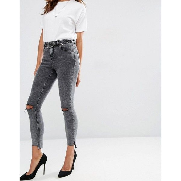 ASOS Ridley Skinny Jeans In Black Acid with Extreme Busts and Stepped... (€46) via Polyvore featuring jeans
