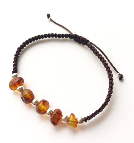 Natural Amber Bracelet Leather for Man Cuff Men Bracelet Steel Baltic Amber Gift