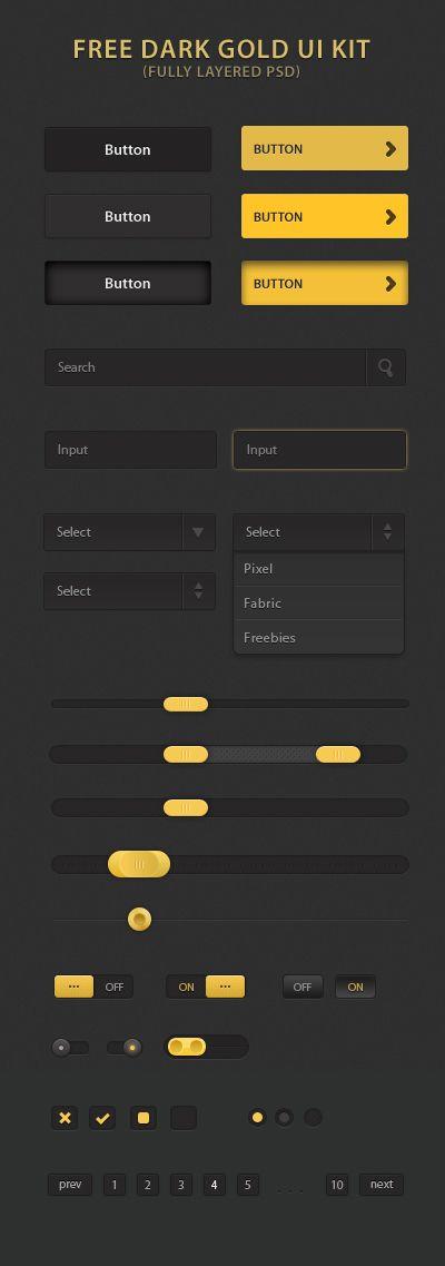 Free Dark Gold UI Kit