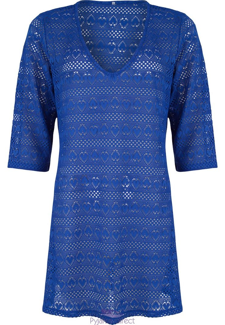 "Be stylish by the pool or on the beach in this ""crochet hearts"" blue mesh, 3/4 sleeve pull-on beach cover-up"