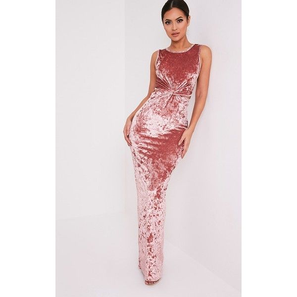 Jaydiah Dusty Pink Crushed Velvet Maxi Dress ($31) ❤ liked on Polyvore featuring dresses, dusty pink, crushed velvet dress, cutout maxi dresses, cut out dresses, maxi length dresses and cutout dresses