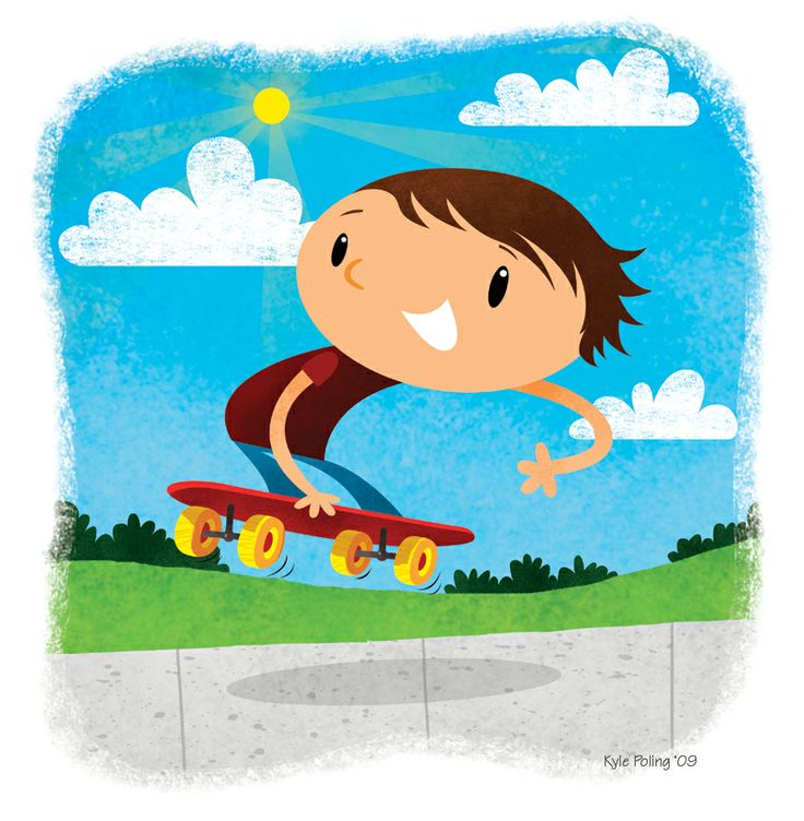 Boy Skateboarder. Illustration by Kyle Poling, represented by Liz Sanders Agency. lizsanders.com