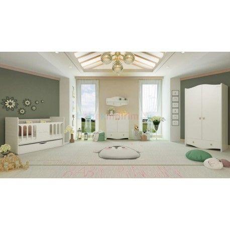 Pierre Cardin Opale White Mini Bebek Odası.  2 kapaklı gardırop.  70x130 beşik.  Şifonyer + Duvar rafı.