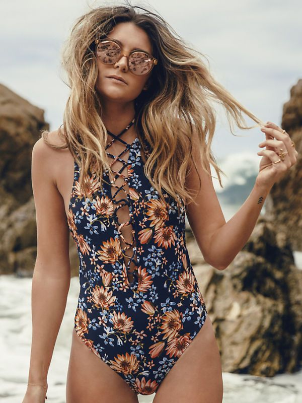 Floral Print Plunging Neck Lace Up Bikini