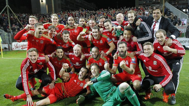 Players of Wales national team celebrate qualifying for Euro 2016.