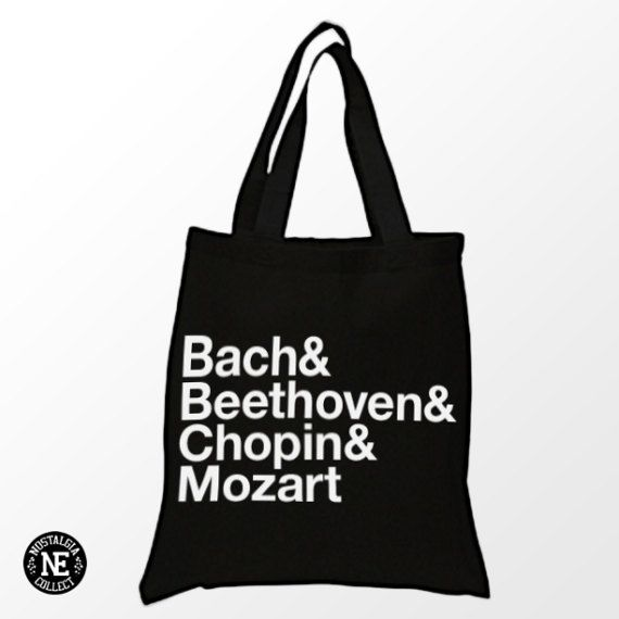 Bach Beethoven Chopin and Mozart Black Tote by Nostalgia Collect