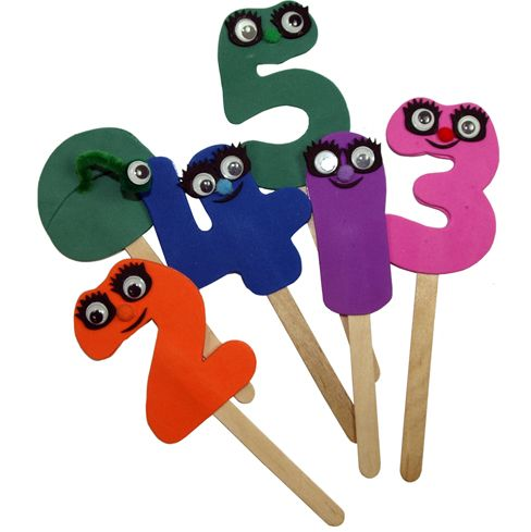 Numberjacks Stick Puppets - could do some numbers made from foam on lolly sticks?