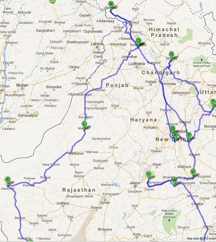 India Road Trip - Google Map - Northern India