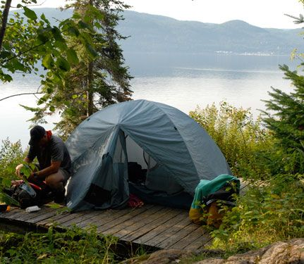 Expédition en kayak, camping