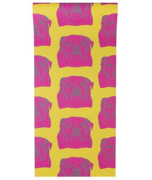 Bulldog Wallpaper Pink