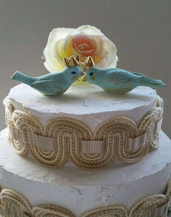 Wedding Cake Topper Blue Birds With Crown Vintage Ceramic Home Decor Https