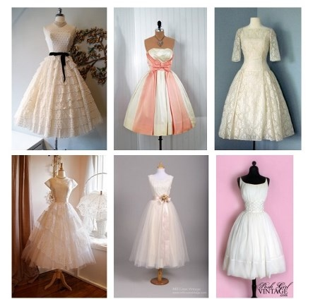 Check out 6 great 1950's tea length wedding gowns...http://www.heritagegown.com/blog/1950-vintage-wedding-dresses/