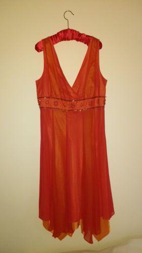 PIERCE-AND-FIONDA-100-Silk-Orange-georgette-sleeveless-evening-dress-Size-14
